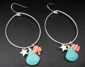 Ocean Inspired Silver Hoop Earrings with Silver Stars, Turquoise Glass Petals, and Real Coral Pieces