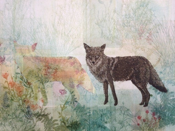 Coyote and Ghost Etching Monoprint