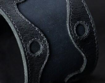 "Leather Cuff: black and blue leather cuff ""Blue Mood Cuff"""