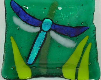 Dichroic Dragonfly Fused Glass Dish