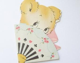 Vintage bridge tally card teddy bear with fan