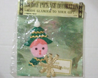 Vintage Christmas tree girl elf gift tag name tag package decoration Commodore Japan felt new in package unused