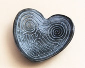 Heart Shaped Pale Blue Ring Holder Ring Dish for Wedding, One of a Kind Handmade Clay Dish for Wedding