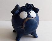 Boy Piggy Bank -- Dark- Blue Ceramic Coin Bank