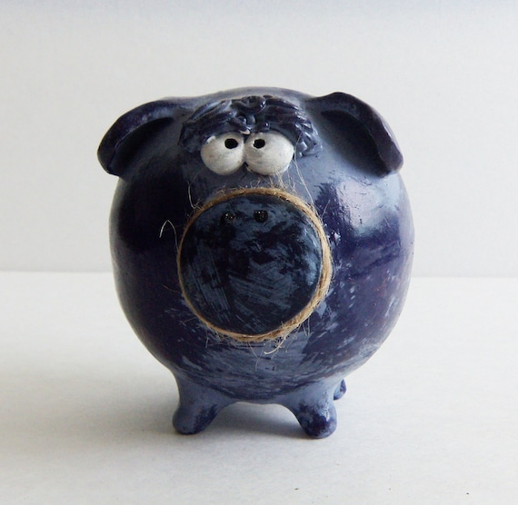 Handmade piggy bank boy money bank in two colors purple and - Coin banks for boys ...
