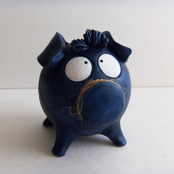 Boy piggy bank dark blue ceramic coin bank - Coin banks for boys ...