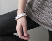Porcelain Bangles - Teal Chevron Pattern Porcelain Bangle Bracelet