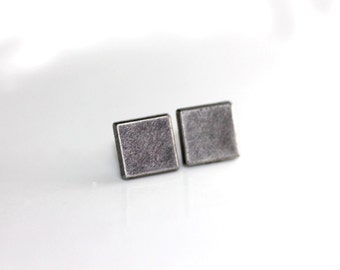 Grand Rock N Roll and Punk Square earrings stud style - Color Vintage Steel Grey or Silver - Choose your Color