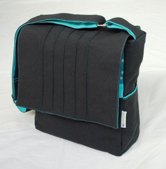 Small Messenger / iPad / Book bag - Charcoal with Turquoise Lining