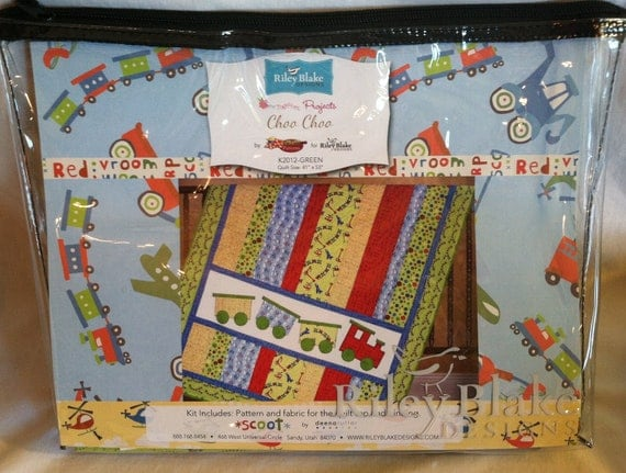 Riley blake quilt kit choo choo train theme scoot fabric for Train themed fabric