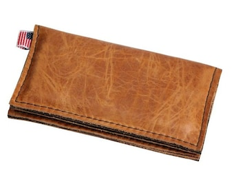 Leather iPhone 5 Wallet New: Full Grain Leather - Handmade - Made in the U.S.A. - Free Shipping - Whiskey Sunrise -  No front label
