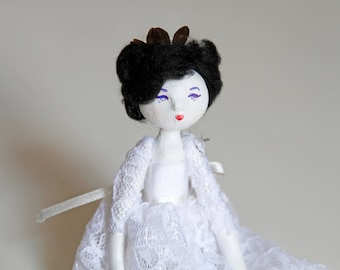 Hipster bride doll Suzie - Contemporary Handmade Paper Clay Doll - One Of A Kind