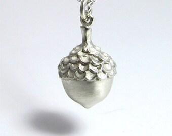 Matte Acorn Necklace, Sterling Silver Charm, Silver Acorn Pendant