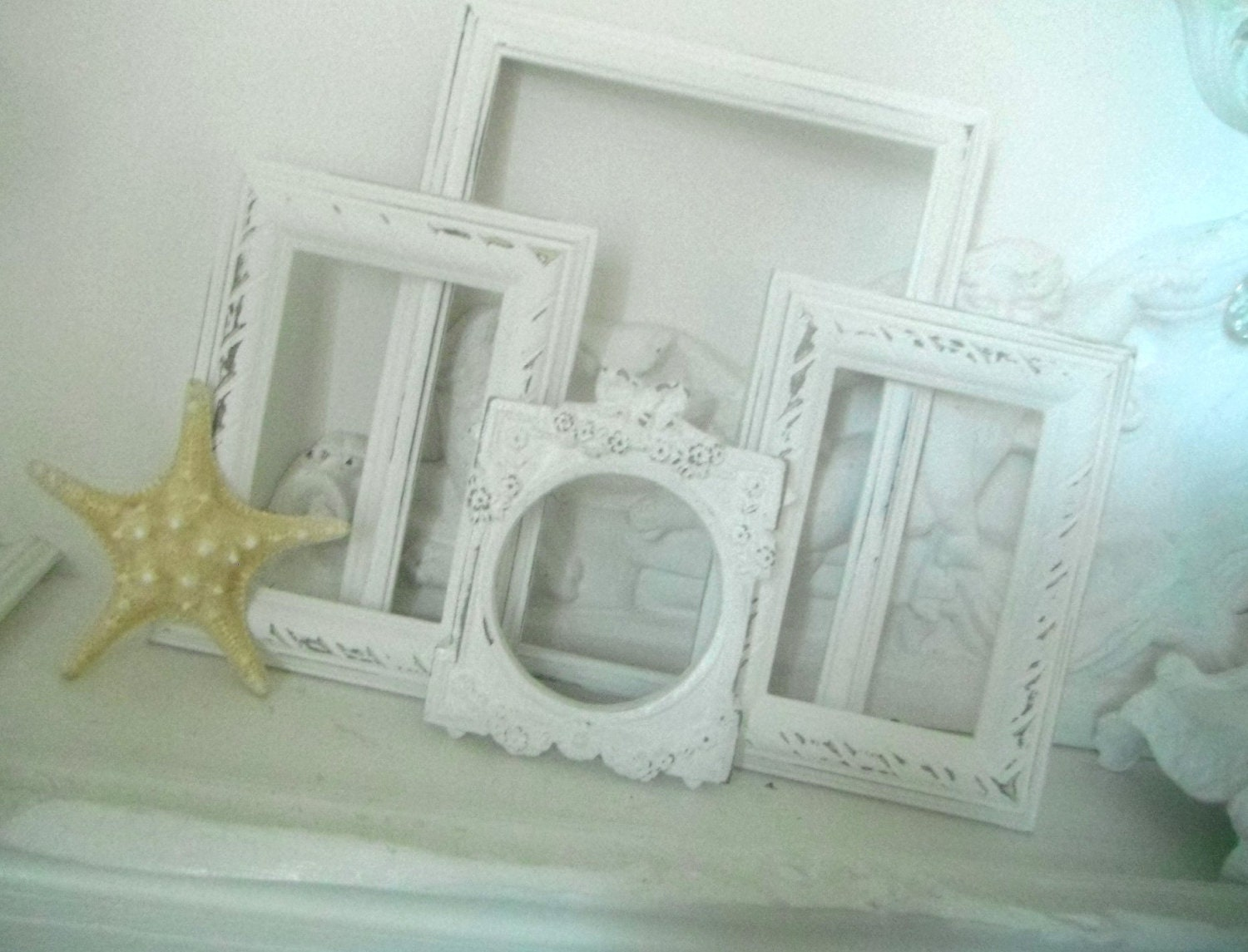 white shabby chic picture frames vintage style ooak by shabbyroad. Black Bedroom Furniture Sets. Home Design Ideas