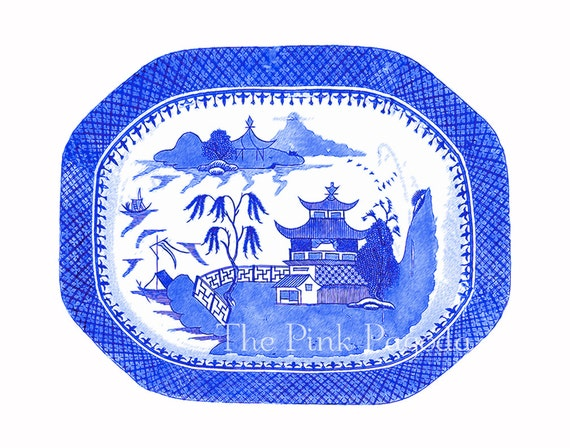 Blue Willow Chinoiserie Platter Giclee