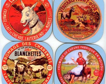 Set of Antique Goat Cheese Label Coasters A