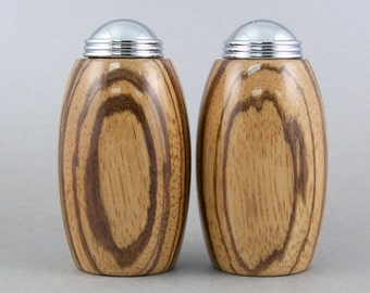 Salt and Pepper Shakers - Handmade Zebrawood with chrome caps