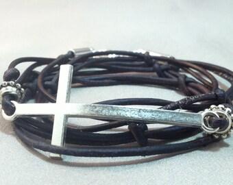 Silver Cross Wrap Bracelet, Leather Wrap Bracelet with Silver Cross, ideways Cross Bracelet