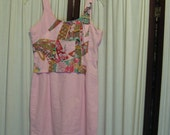 Reconstructed Recycled EcoFriendly Girls' Dress Sz 12 Lt Pink with Awesome Asian Oriental Pink Multi from Kimono