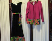 Reconstructed Recycled EcoFriendly Girls' Dress and Jacket Set Sz M Black Velour Pink Jacket Indian Fabric