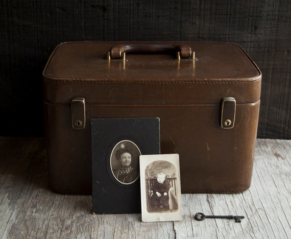 Brown Leather Train Case - Antique Travel Luggage