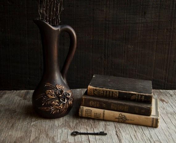 RESERVED for Julie Rustic Brown Floral Vase - Vintage Victorian