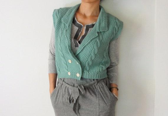 vintage women pale jade cropped crochet sweater vest (xsmall - small)