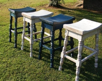 Saddle Stools Hand Turned Legs Set of 4 Distressed White and Blue Solid Wood