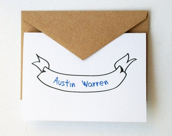 Personalized Stationery -- The Austin -- Banner Stationery -- Set of Cards & Envelopes- CHOOSE your QUANTITY