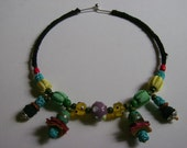 Candy colored, glass and textile choker ( with earrings) under the influence of Morocco.