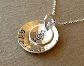 Hand Stamped Stacked Disk Name Necklace - Robot