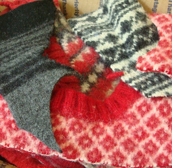 RESERVED FOR LEXIE Felted Sweater Wool Scraps Red/Black/Grey One Pound