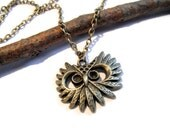 Owl Head Necklace - Antiqued Brass Owl Head Necklace