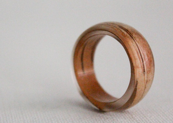 birch bark  size 7.5 transparent round resin eco ring
