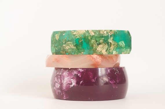 purple  round bangle made with eco resin containing metallic silver leaf foil