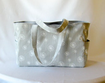 MADE TO ORDER Dandelion Diaper Bag, Waterproof lining, available in two colors, Gray and Pink