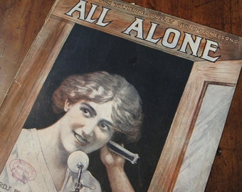 "Sheet music, ""All Alone"" by Harry Von Tilzer, vintage 1911, Etherington or Teller cover, beautiful woman in telephone booth, candlestick"