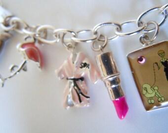 Barbie Pink Poodle Skirt Charm Bracelet