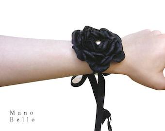 Black Leather Flower Bracelet Steampunk Wedding Bracelet Corsage Black Corsage Goth Corsage Black Wedding Black Flower Vintage , custom