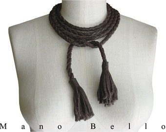 Braided Leather Necklace or Belt , Long Brown Leather Rope Belt, Braided Tie Belt, Chocolate Brown or Black Noir