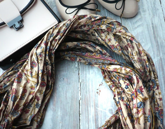 Infinity Scarf floral soft  tan  in recycled sari silk, Wearable Woman  accesories Ti