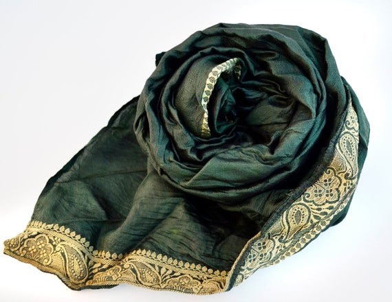 Silk Scarf Recycled dark green colors accesories Silk Scarve Woman V