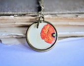 Poppy and Psalm antique brass pendant