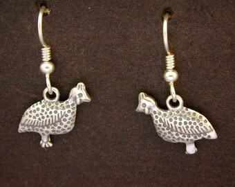 Sterling Silver Quail Earrings on Heavy Sterling Silver French Wires
