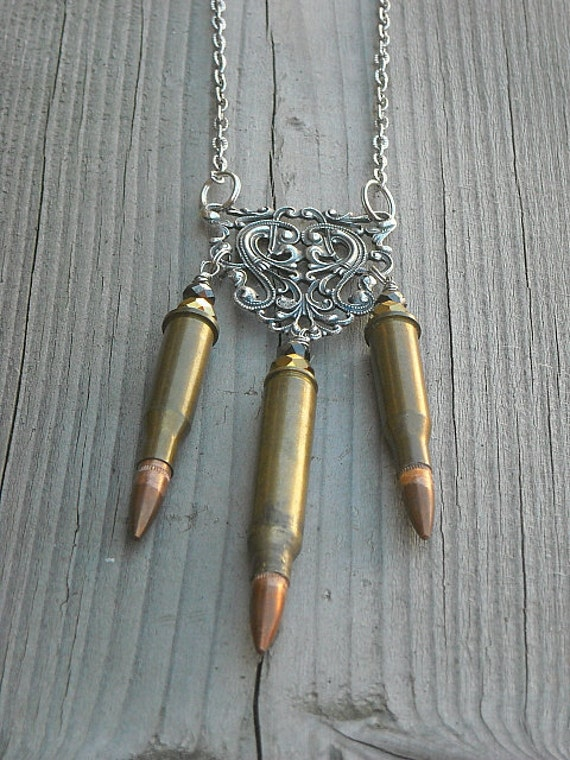 Bullet Necklace, Bullet Casing Necklace, Steampunk, Men, Women,