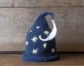 Newborn Baby Hat,  Moon and Stars Bedtime Cap, Wizard Newborn Baby Hat, Handmade Knit Star and Moon Hat, Starry Nights Hat