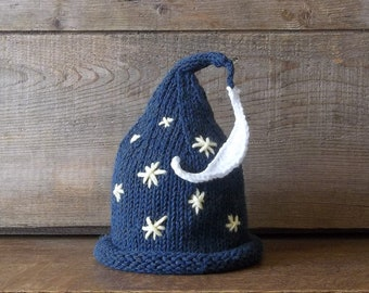 Newborn Baby Hat,  Moon and Stars Bedtime Cap, Wizard Newborn Baby Hat, Handmade Knit Star and Moon Hat, Starry Nights Hat