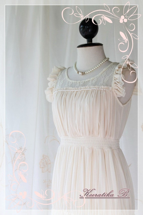 Romantic Girl - Sweet Pale Yellow Feminine Maxi Dress Petite Ruffle White Pearl Bead Work Lacy Embroidered
