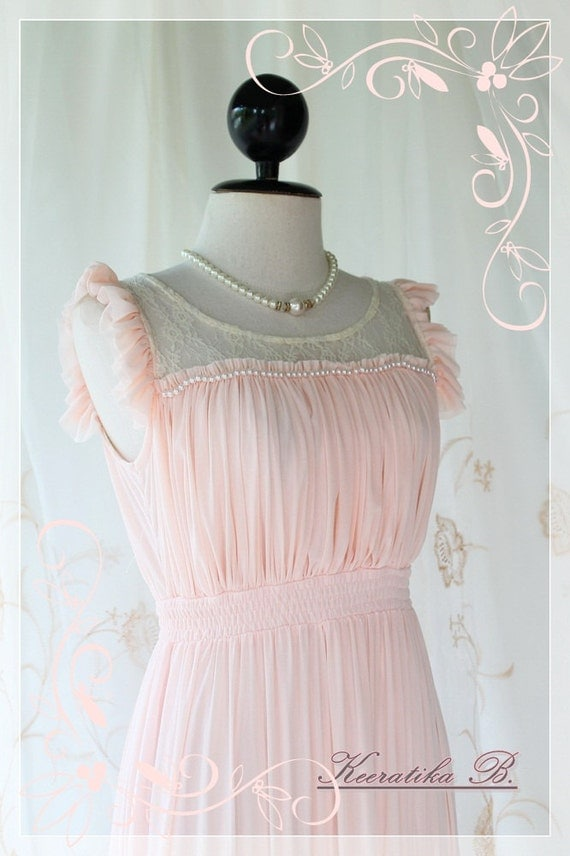 Romantic Girl - Sweet Light Pink Feminine Maxi Dress Petite Ruffle White Pearl Bead Work Lacy Embroidered
