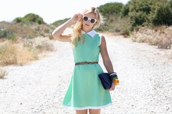 VTG 1960s 60s Mod Green Checkered Sleeveless Dress w/ Collar S